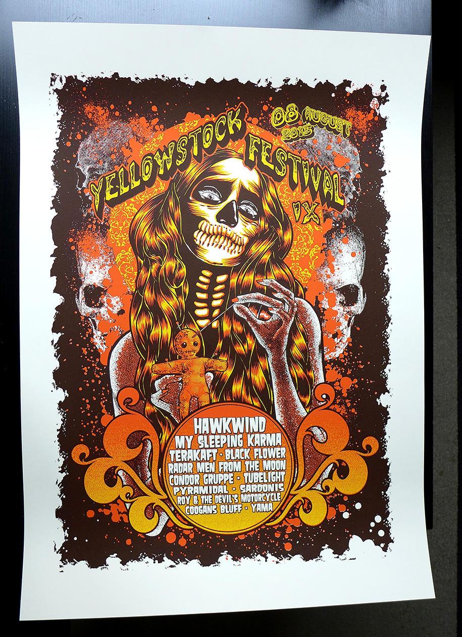 Yellowstock festival 2015 Silkscreen poster by Johannahoj