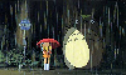 Satsuki, Mei and Totoro! [My Neighbour Totoro] by biimii