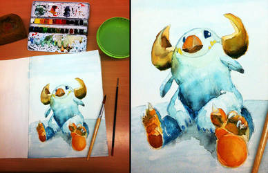 Watercolor painting: Sitting monster by sodeikat