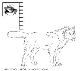 free wolf lineart v. 2.0. by DakotaW-Wolf