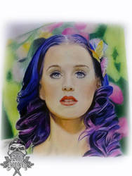 Katy Perry colour pencil portrait by inksurgeon