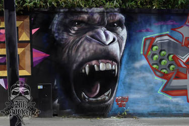 Planet of the apes Caesar graffiti portrait by inksurgeon