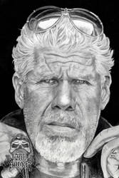 Sons of anarcy Clay - Ron Perlman pencil portrait by inksurgeon