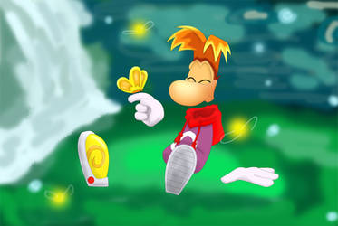 Rayman with a butterfly by AishaPachia