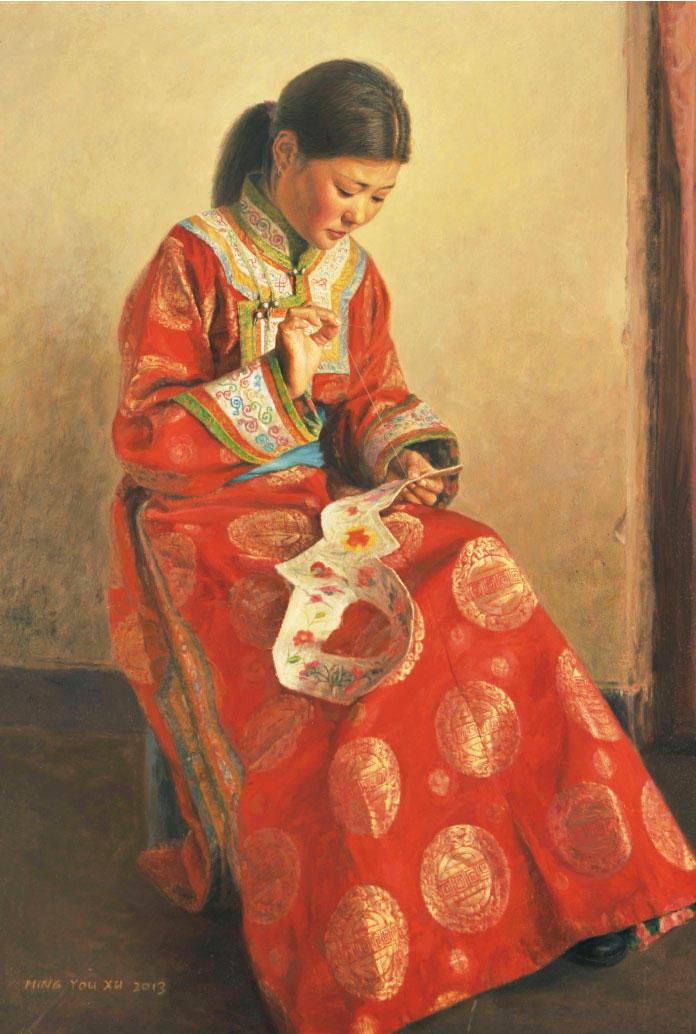 Young Girl Sewing by MingYou-Xu