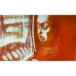 Reflection in a train // painting by kiusa