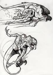 Raptors in Motion Sketches by CamaroMaro