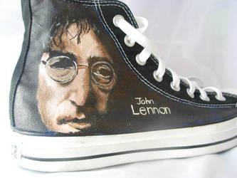 John Lennon Converse by TAZmaniandevil13