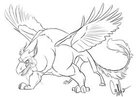 Battle Gryphon Sketch by Gingco