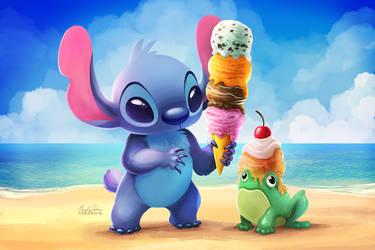 Stitch Ice Cream - Paint Along by TsaoShin