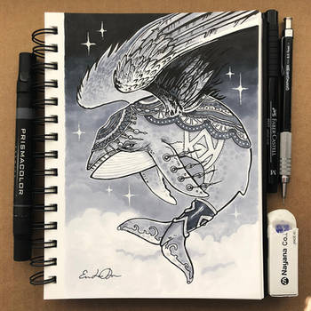 Inktober Day 12 - Whale by TsaoShin