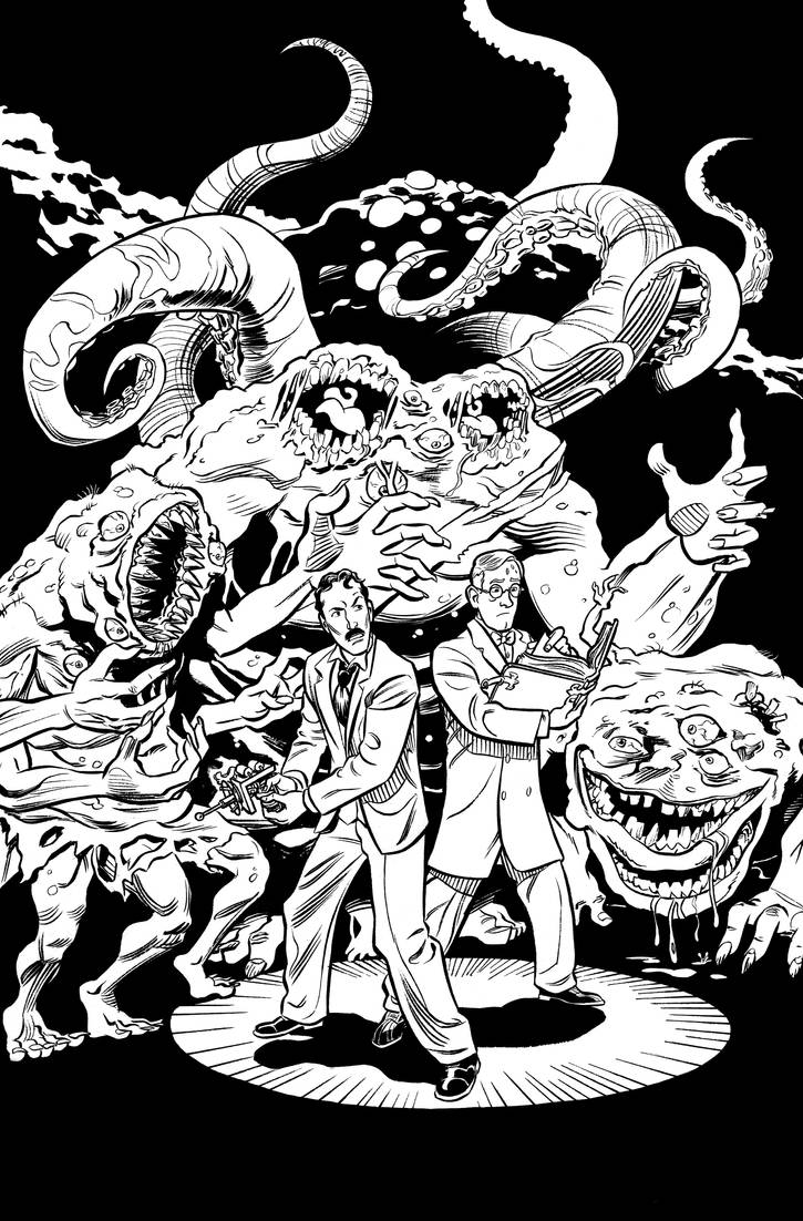Herald: Lovecraft and Tesla issue 09 cover INKS by mistermuck