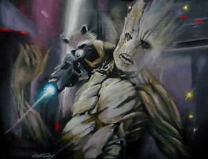 Rocket and Groot: Prison scene by sullen-skrewt
