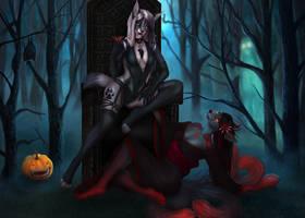 [Halloween Raffle] Noche de miedo by EtskuniArt
