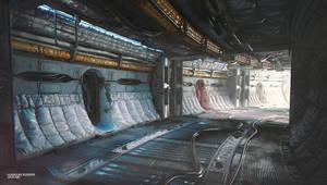 Sci-fi hallway concept Awakening by Myfysalim