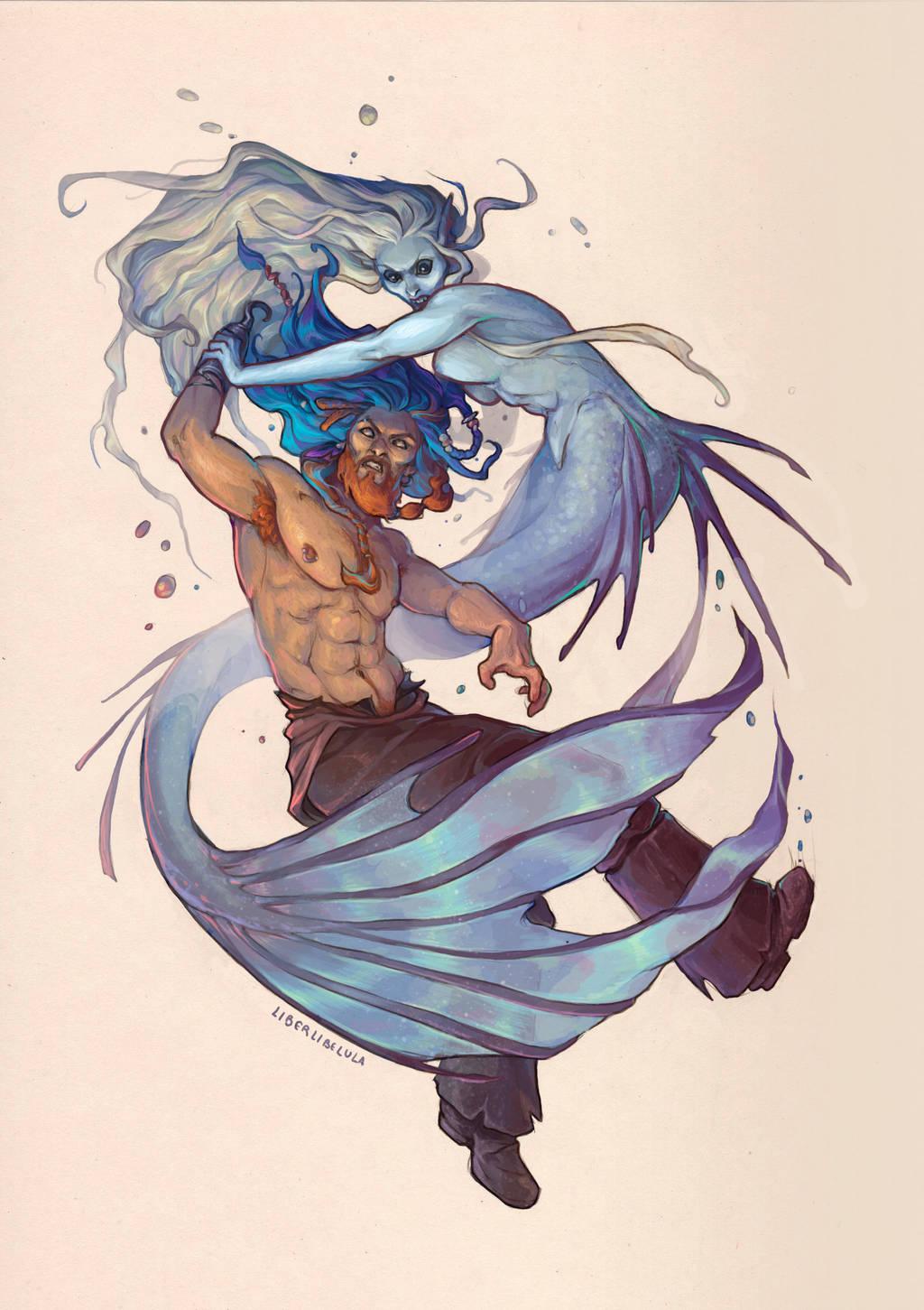Mermaid and Captain by LiberLibelula