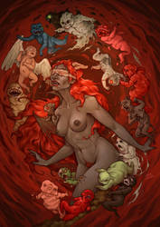 The Binding of Isaac - Lilith and Babies by LiberLibelula