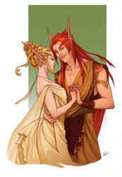 Commission - Itharie and Valyn by LiberLibelula