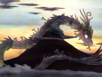 Sunrise with Feathered Snake over Popocatepetl by Shi-Gu