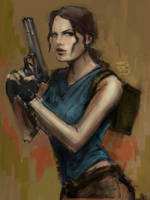 Lara Croft. Classic look color scetch by LeksaArt