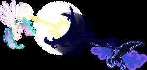 Celestia vs Nightmare Moon by Stabzor