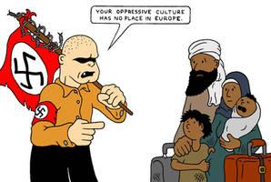 Immigration Irony by RednBlackSalamander