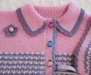 Detail of Wool Cardigan and Cap for Toddler by ToveAnita