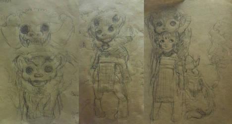 WIP/Doodle/Brainstorm Hanari by abstranger