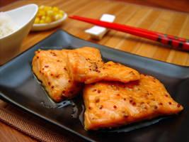 Salmon teriyaki kind of by maytel