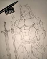 Sketch 1 - Warrior by RudeWolf-Ryoga