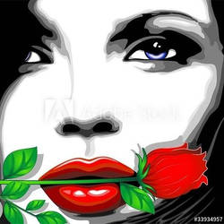 Beautiful Girl with Red Rose by Bluedarkart by Bluedarkat