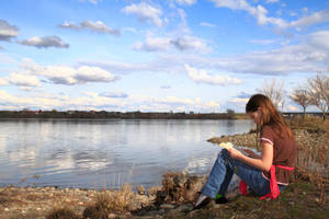 Reading by the River by gentlegenius