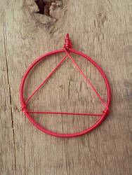 Wire-Rapped Fire Symbol Pendant by BrinkisBrinkis