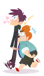bros with unfortunate height difference by vern-argh