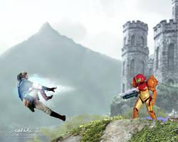 Smash Bros. Link vs. Samus by RobAndersonJr
