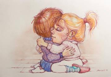 Illustrated Hug by MarySdfghjkl