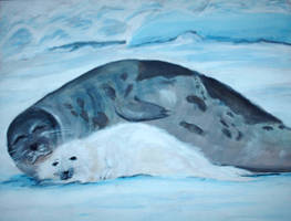 Mother and Child 6_Harp Seals by German-Blood