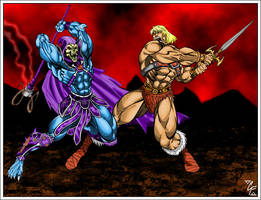 He-man vs Skeletor by apocalypsethen