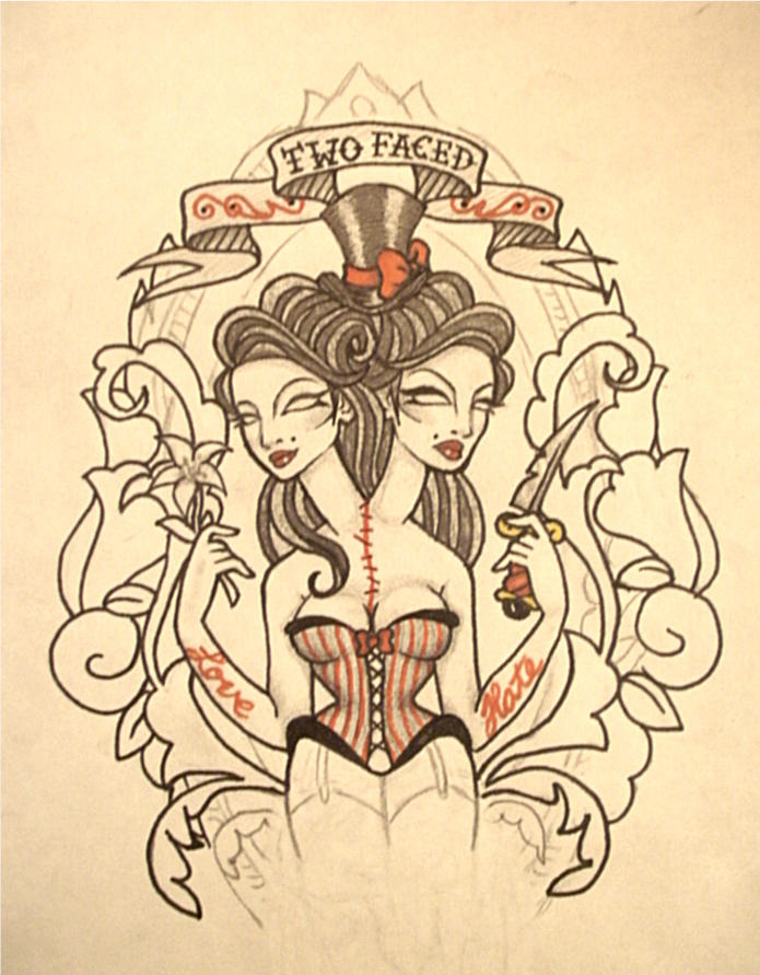 Two Faced Tattoo Design By Dollface801 On Deviantart