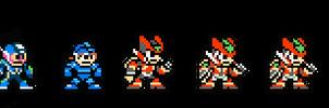 8-bit MegaMans by MidniteW