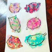 Galaxy Kitties by BrokenDeathAngel
