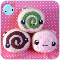 Swiss Roll Plushies by CherryAbuku