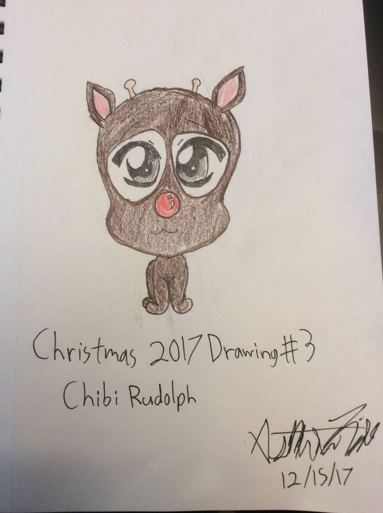 Christmas 2017 Drawing #3: Chibi Rudolph by doctorwhooves253