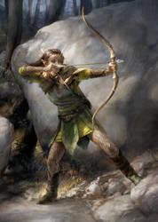 Elf Ranger with Barkskin by sheppardarts