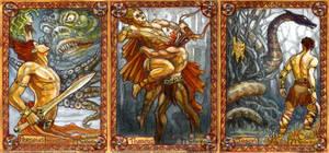 Greek heroes: Perseus, Theseus, Jason by BohemianWeasel