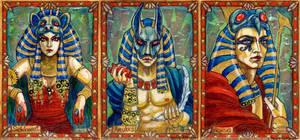 Egyptian gods: Sekhmet, Anubis, Horus by BohemianWeasel