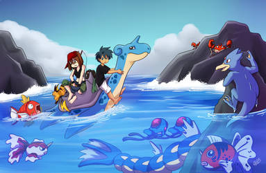 Sydney and Neison on Lapras by LilBruno