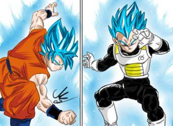 Goku ssg vs. Vegeta ssg by Mariusotaku