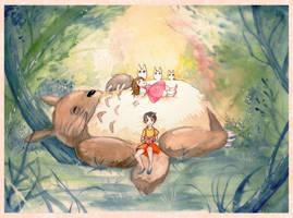 Totoro (watercolors) by sleepcross