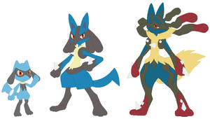 Riolu, Lucario and Mega Lucario Base by SelenaEde